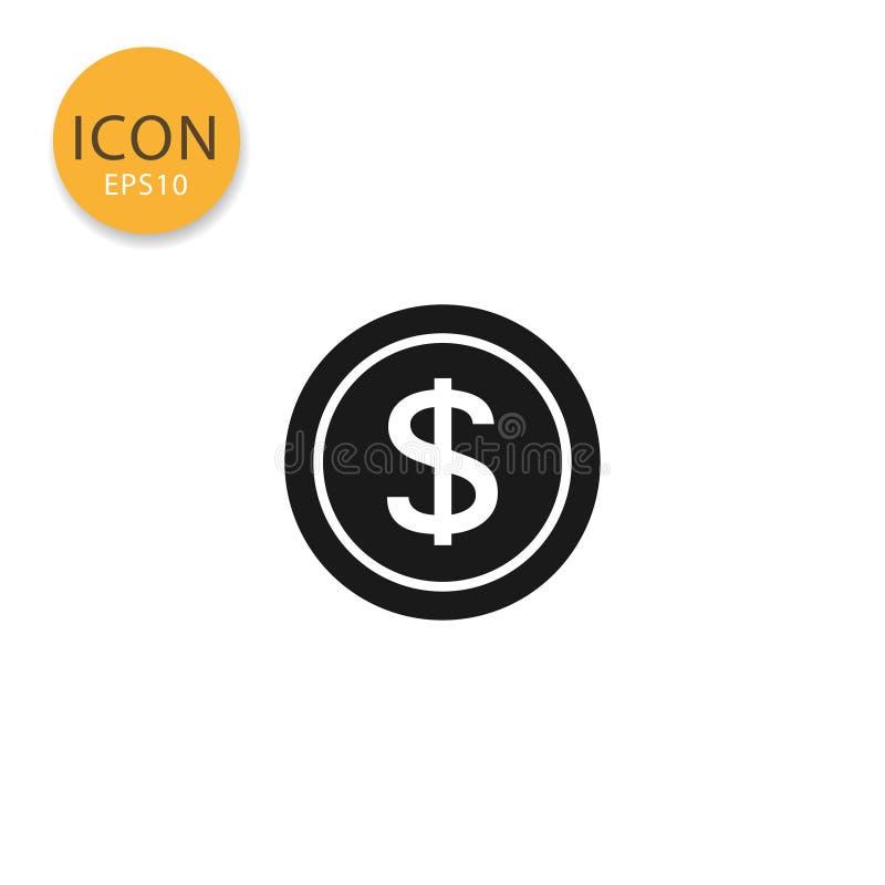 Ejemplo del vector del icono de la moneda del dólar ilustración del vector