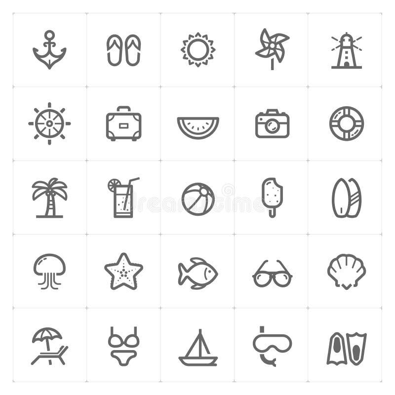 """Ejemplo del vector del icono de la playa del †determinado de Mini Icon """" ilustración del vector"""