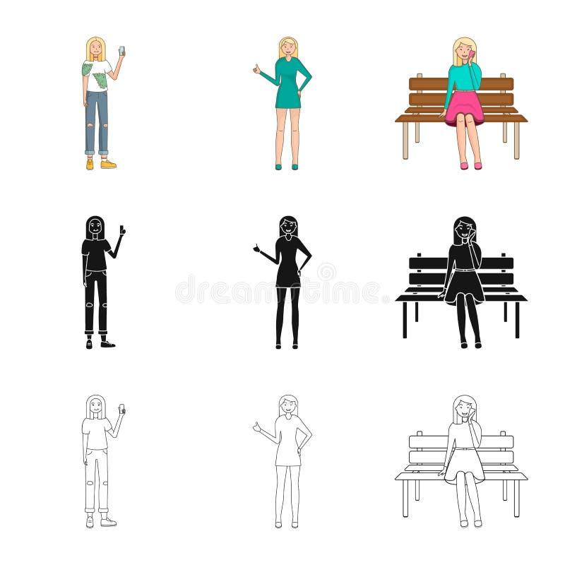 Ejemplo del vector del icono de la postura y del humor Colecci?n de postura y de ejemplo com?n femenino del vector libre illustration