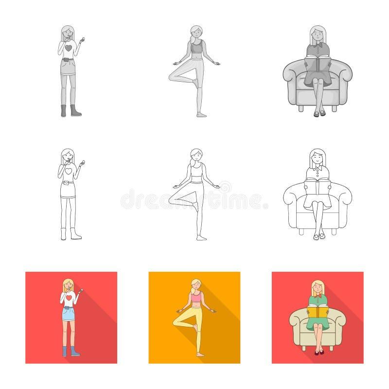 Ejemplo del vector del icono de la postura y del humor Colecci?n de postura y de s?mbolo com?n femenino para la web libre illustration