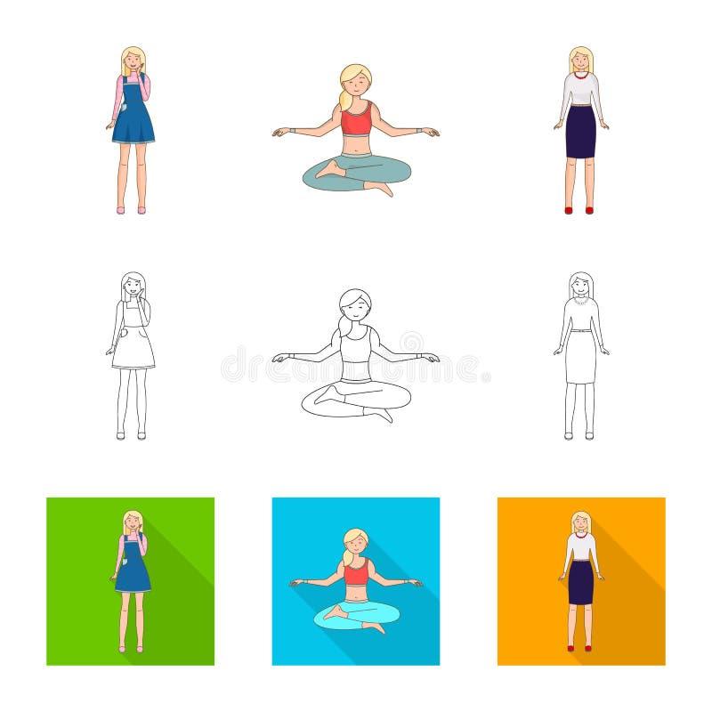Ejemplo del vector del icono de la postura y del humor Fije de postura y del ejemplo com?n femenino del vector ilustración del vector