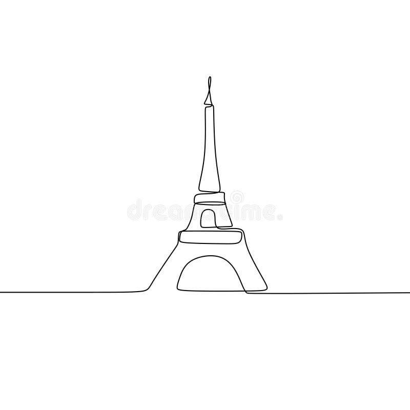 Ejemplo del vector del icono de la torre Eiffel de París con estilo continuo del minimalismo del dibujo lineal ilustración del vector