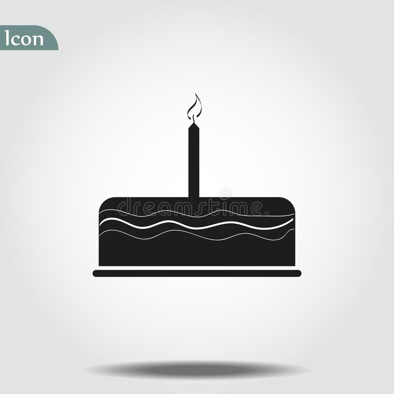 Ejemplo del vector del icono de la torta de cumplea?os Feliz cumplea?os Torta para la celebración del cumpleaños con tres velas libre illustration