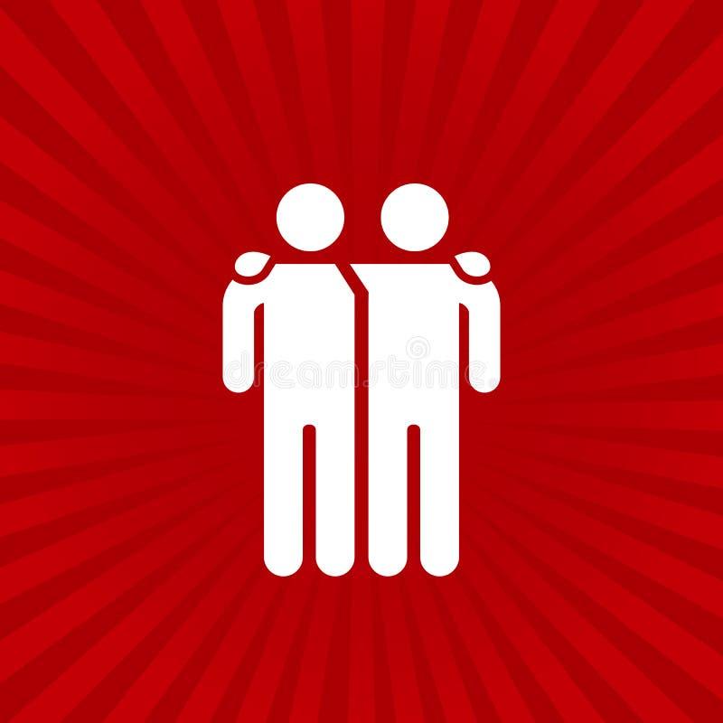 Ejemplo del vector del icono de los amigos aislado en fondo del resplandor solar Muestra de la amistad Símbolo del mejor amigo libre illustration