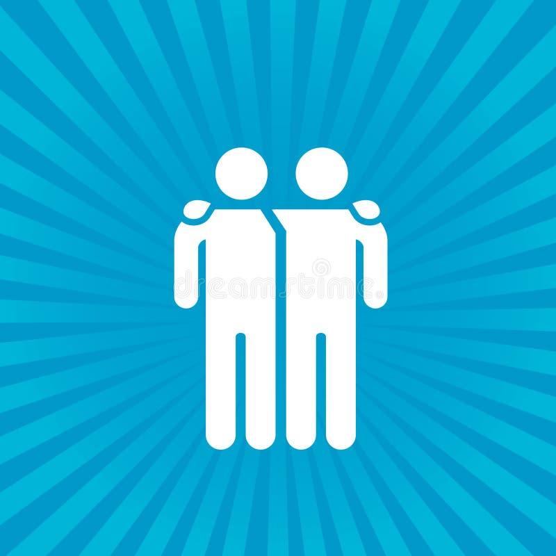 Ejemplo del vector del icono de los amigos aislado en fondo del resplandor solar Muestra de la amistad Símbolo del mejor amigo ilustración del vector
