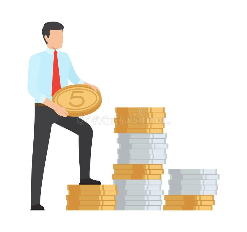 Ejemplo del vector del icono del dinero del ahorro del hombre ilustración del vector