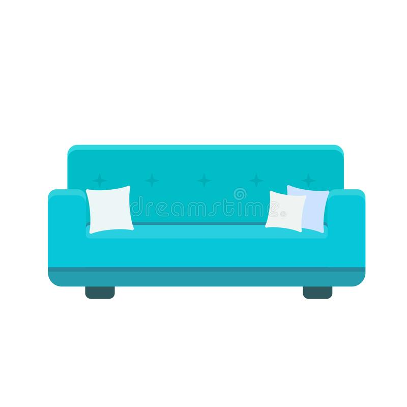 Ejemplo del vector del icono del diván con las almohadas libre illustration