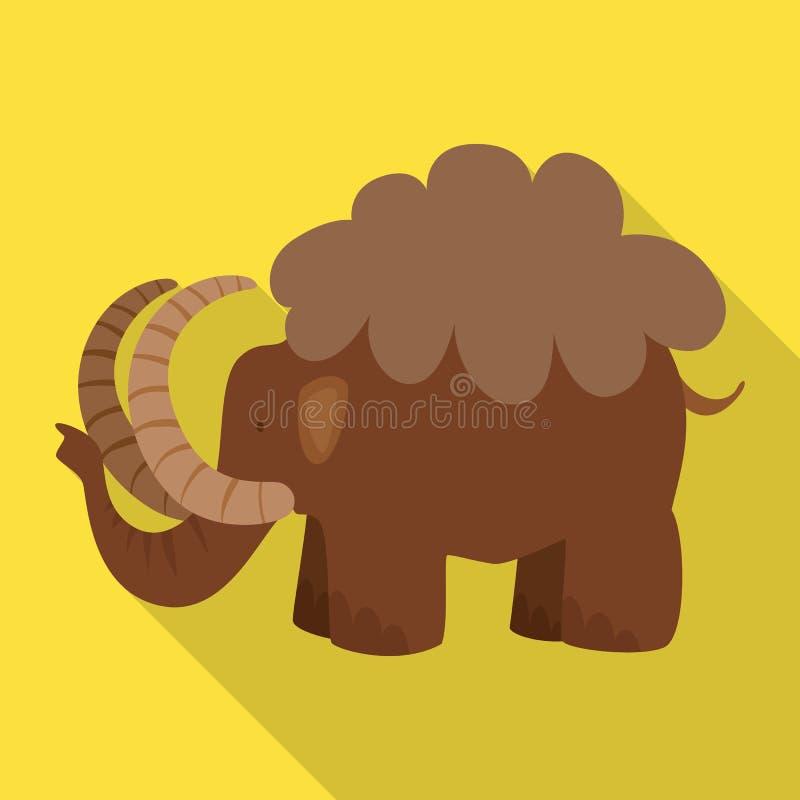 Ejemplo del vector del icono gigantesco y animal Sistema del mamut y del ejemplo com?n del vector de la prehistoria libre illustration