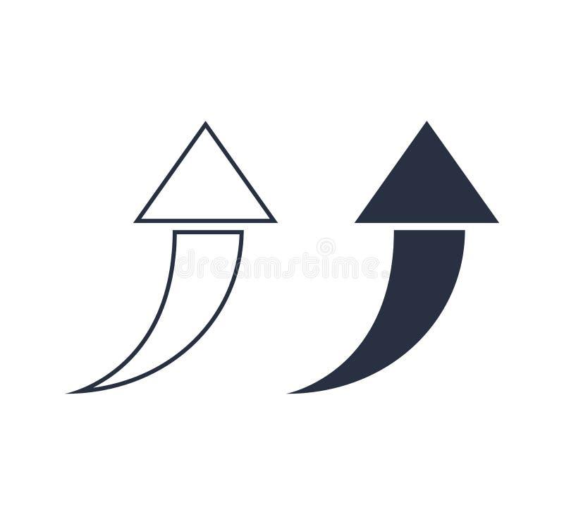 Ejemplo del vector del icono del indicador de flecha Sistema de flechas negras del vector Línea de la flecha e iconos sólidos Ui, foto de archivo