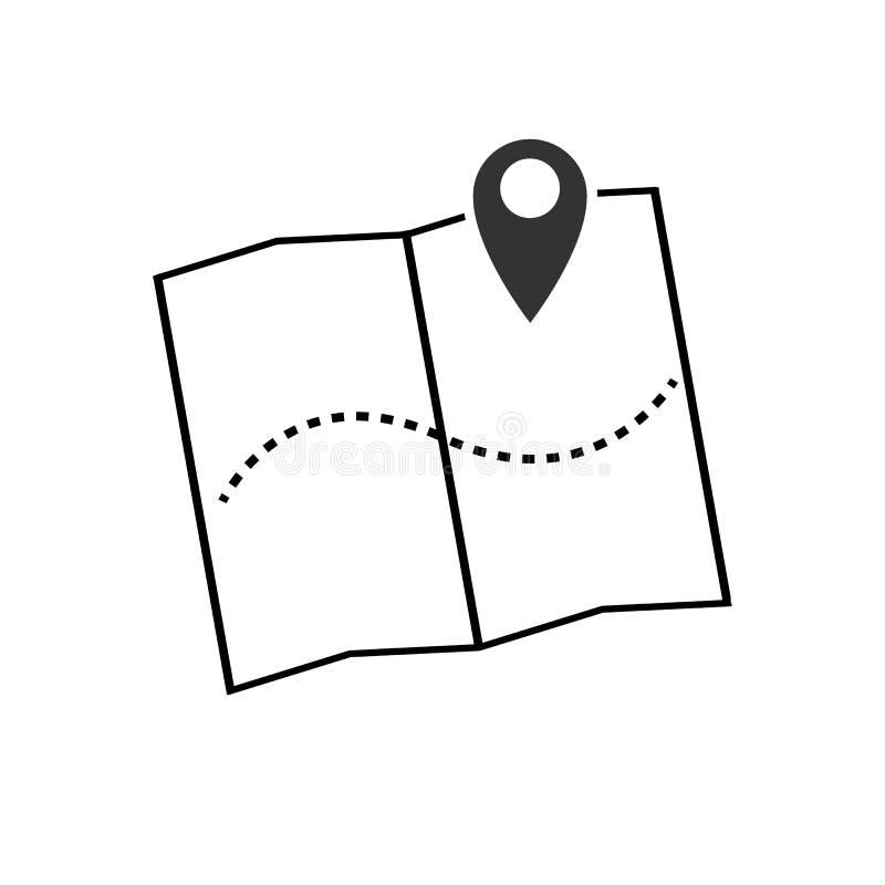 Ejemplo del vector del icono del indicador del mapa Símbolo de ubicación de GPS con con el indicador del perno para el diseño grá ilustración del vector