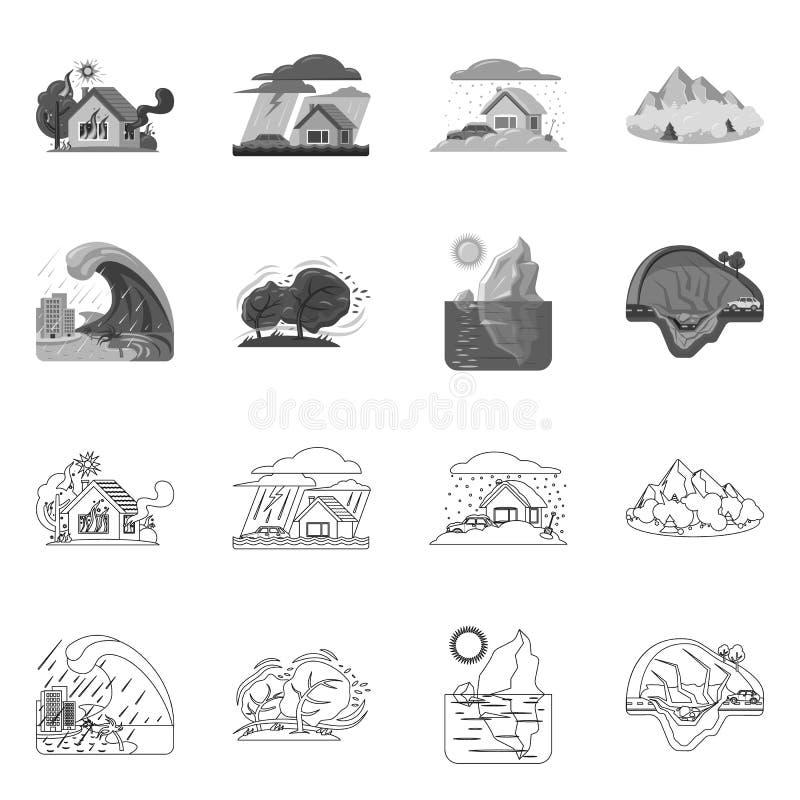 Ejemplo del vector del icono natural y del desastre Colección de icono natural y del riesgo del vector para la acción libre illustration