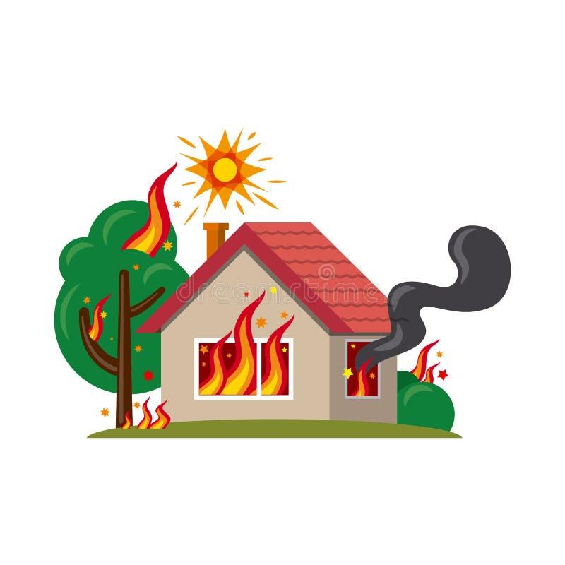 Ejemplo del vector del icono natural y del desastre Sistema del símbolo común natural y del riesgo para el web stock de ilustración