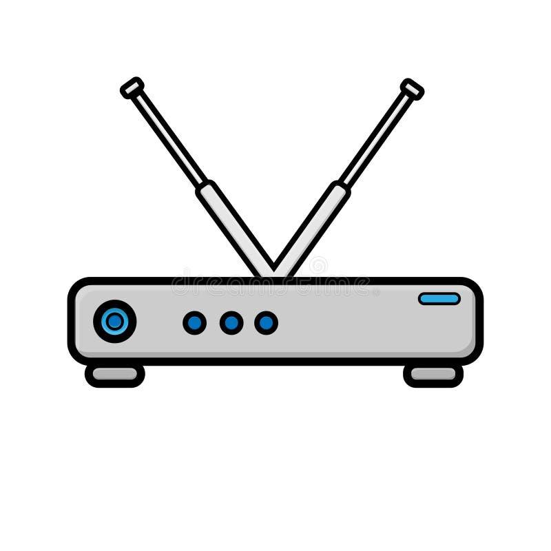 Ejemplo del vector del icono plano blanco del router digital digital moderno del módem de Wi-Fi para Internet inalámbrico aislado ilustración del vector