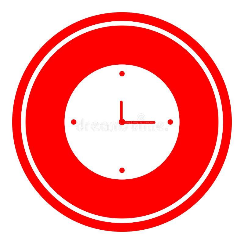 Ejemplo del vector del icono del reloj en fondo rojo stock de ilustración