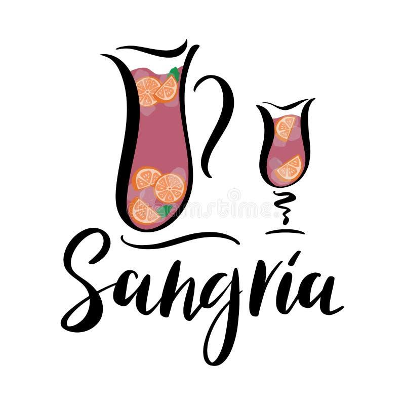 Ejemplo del vector del jarro y del vidrio de sangría española de la bebida del vino stock de ilustración