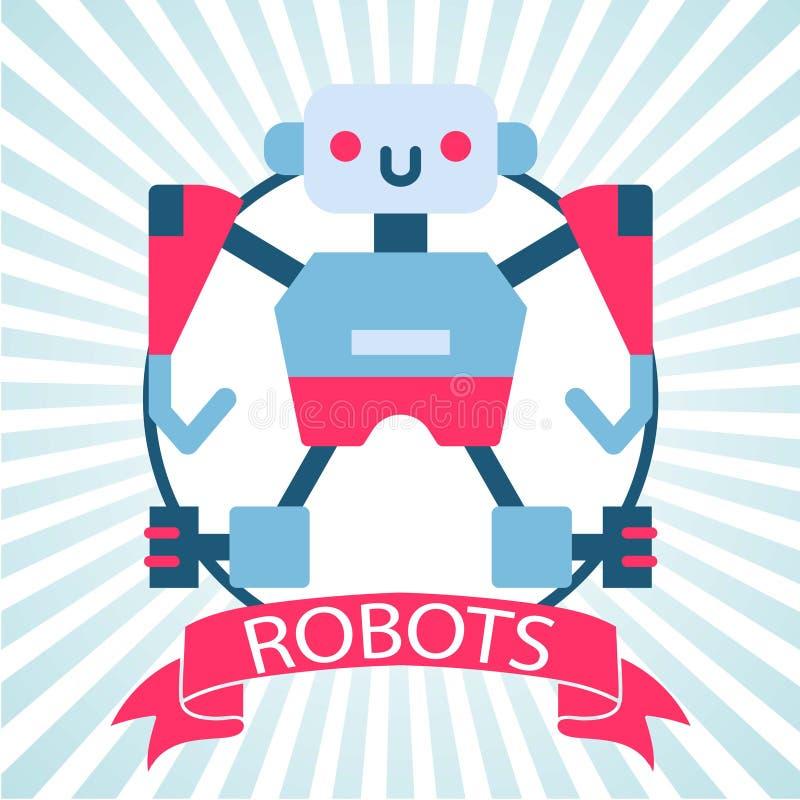 Ejemplo del vector del juguete del robot con la bandera en fondo pelado azul retro Icono de Chatbot Ayuda de la robótica del clie ilustración del vector