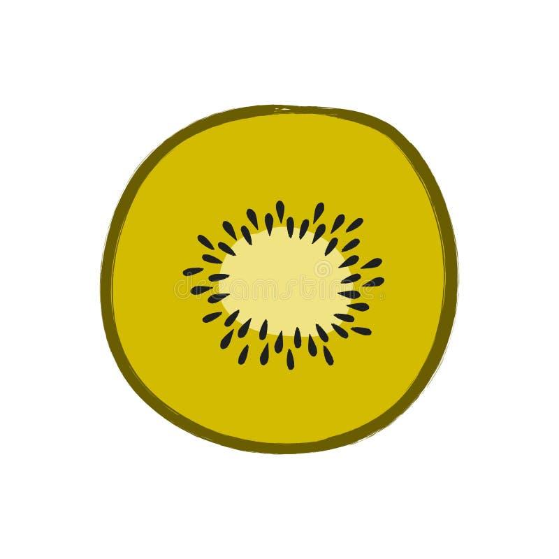 Ejemplo del vector del kiwi cortado aislado en el fondo blanco libre illustration