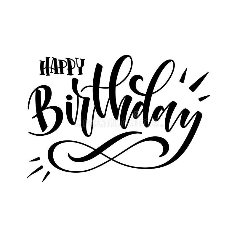 Ejemplo del vector: Letras modernas manuscritas del cepillo del feliz cumpleaños en el fondo blanco Diseño de la tipografía stock de ilustración