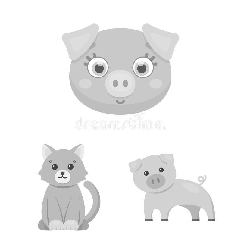 Ejemplo del vector del logotipo del animal y del hábitat Fije del icono del vector del animal y de la granja para la acción ilustración del vector