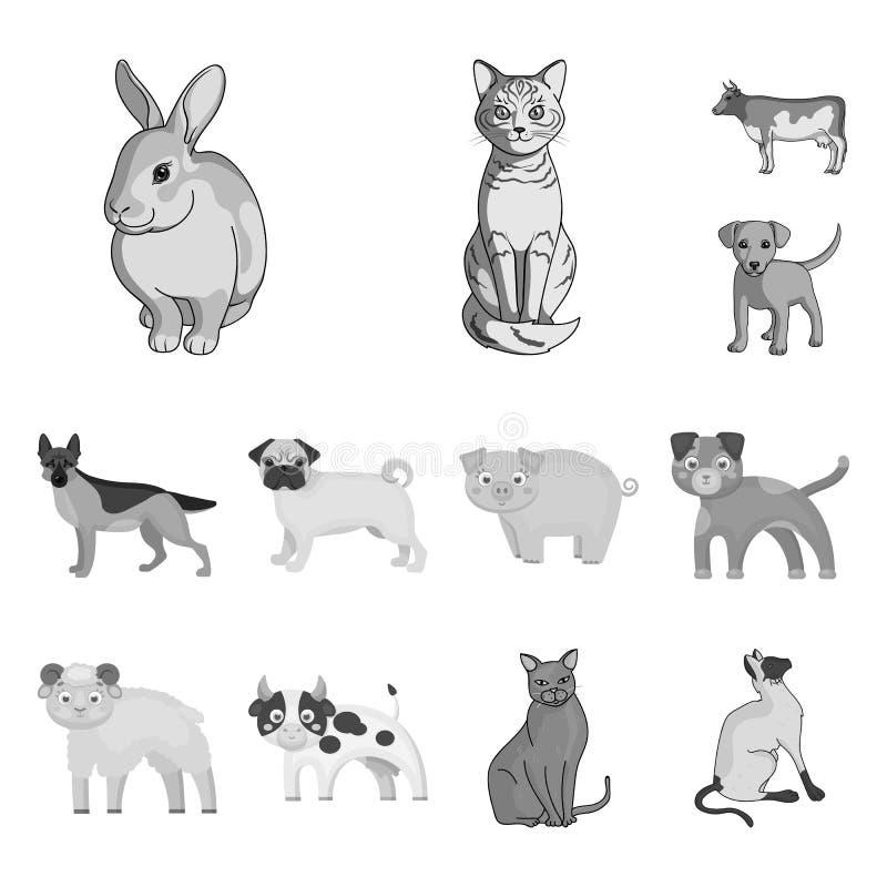 Ejemplo del vector del logotipo del animal y del hábitat Fije del icono del vector del animal y de la granja para la acción libre illustration