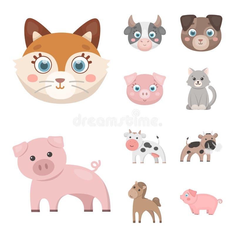 Ejemplo del vector del logotipo del animal y del hábitat Fije del símbolo común del animal y de granja para la web libre illustration
