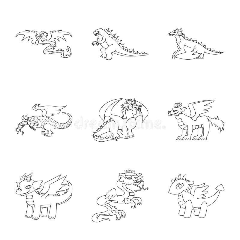 Ejemplo del vector del logotipo asiático y medieval Colección de icono asiático y mítico del vector para la acción ilustración del vector