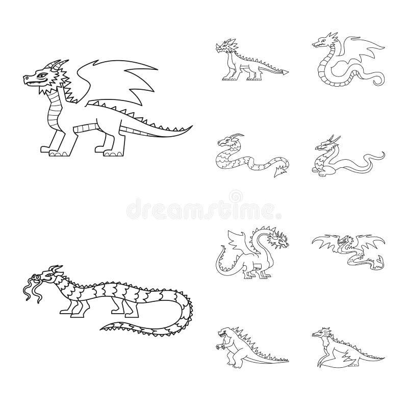 Ejemplo del vector del logotipo asiático y medieval Fije del icono asiático y mítico del vector para la acción stock de ilustración