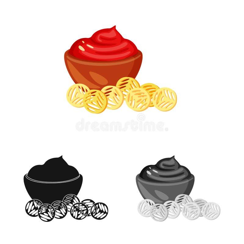 Ejemplo del vector del logotipo del bocado y de los cuscurrones Fije del icono del vector del bocado y del pan para la acción stock de ilustración