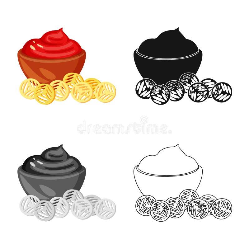 Ejemplo del vector del logotipo del bocado y de los cuscurrones Fije del símbolo común del bocado y del pan para la web libre illustration