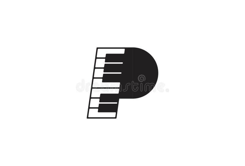 Ejemplo del vector del logotipo de la música del piano ilustración del vector