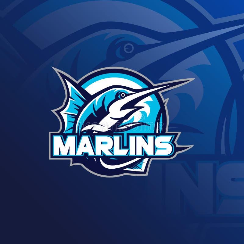 Ejemplo del vector del logotipo de la mascota de la pesca stock de ilustración