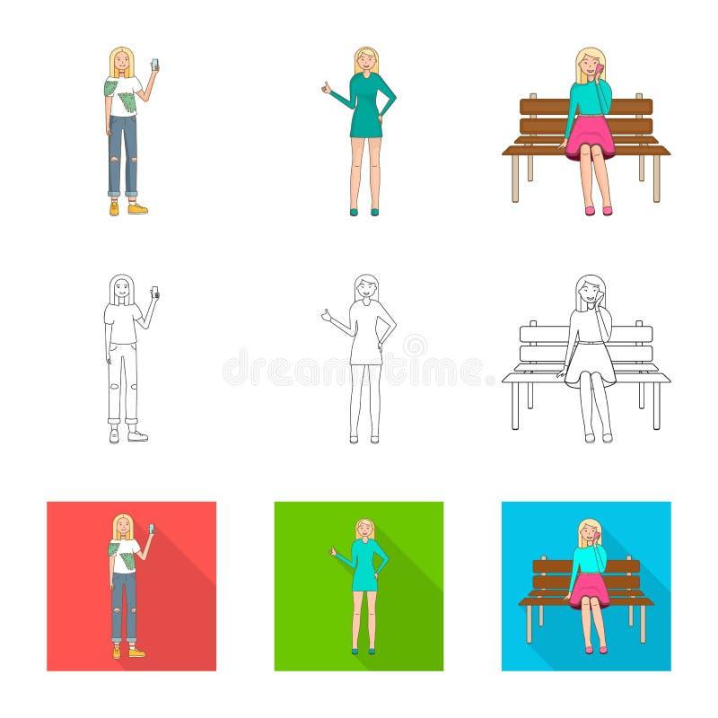 Ejemplo del vector del logotipo de la postura y del humor Colecci?n de postura y de ejemplo com?n femenino del vector libre illustration