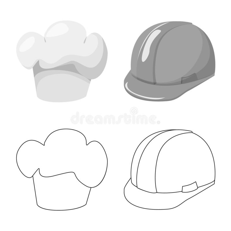 Ejemplo del vector del logotipo de la ropa y del casquillo Colecci?n de icono del vector de la ropa y de la boina para la acci?n ilustración del vector