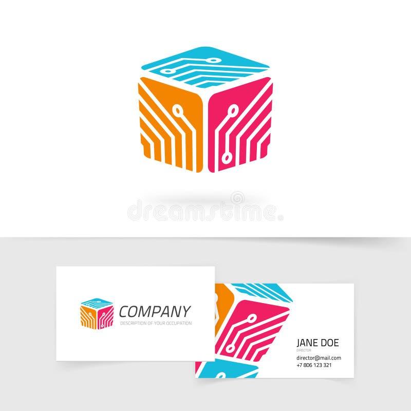 Ejemplo del vector del logotipo de la tecnología, logotipo de la tecnología del color rojo con el circuito o tablero electrónico  libre illustration