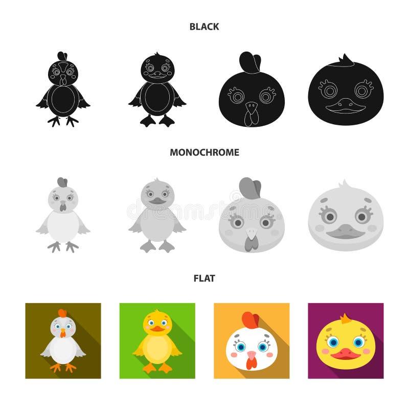 Ejemplo del vector del logotipo divertido y de las aves de corral Fije de divertido y del ejemplo com?n del vector de cultivo libre illustration