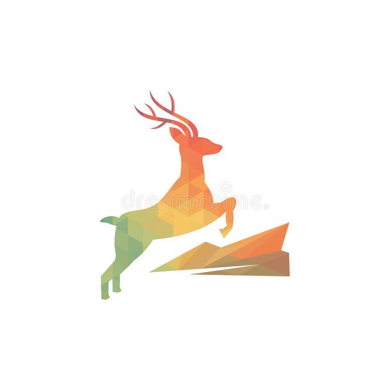 Ejemplo del vector del logotipo geométrico de los ciervos stock de ilustración