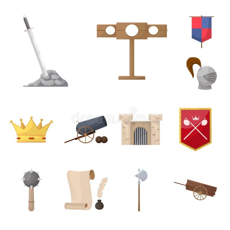Ejemplo del vector del logotipo medieval y de la historia Colección de icono medieval y del torneo del vector para la acción libre illustration