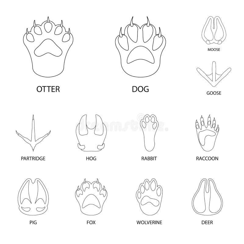 Ejemplo del vector del logotipo del pie y de la huella Fije del símbolo común del pie y del rastro para la web libre illustration