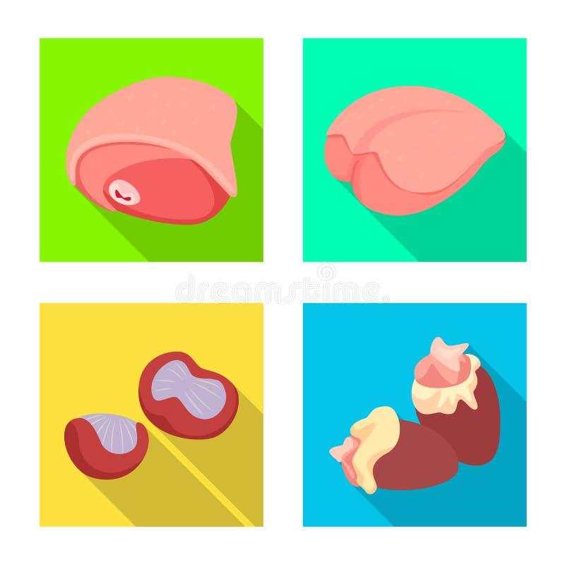 Ejemplo del vector del logotipo del producto y de las aves de corral Colecci?n de producto e icono del vector de la agricultura p stock de ilustración