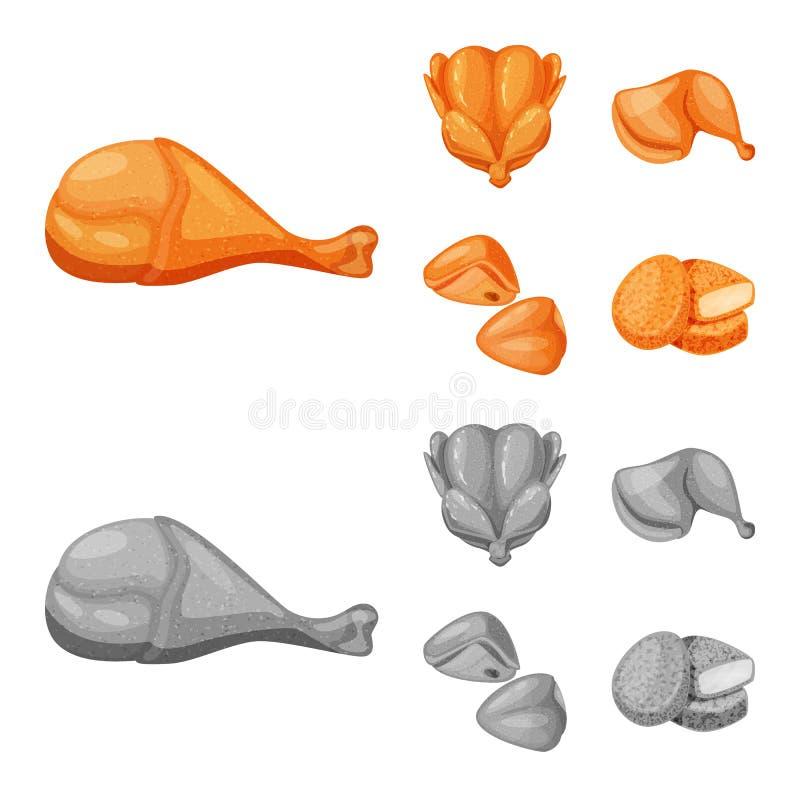 Ejemplo del vector del logotipo del producto y de las aves de corral Fije de producto y del s?mbolo com?n de la agricultura para  stock de ilustración