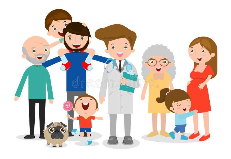 Ejemplo del vector del médico de cabecera, familia grande con el doctor Cuide la situación así como padre, madre, niños y abuelos ilustración del vector
