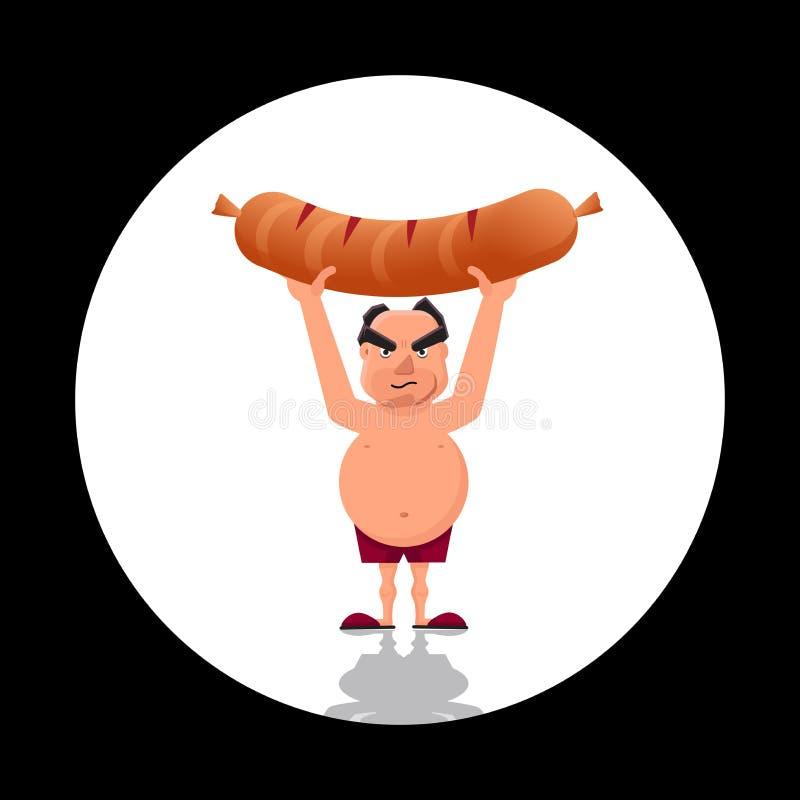 Ejemplo del vector del machista que celebra una salchicha gigante ilustración del vector