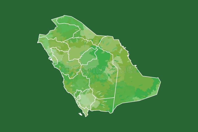 Ejemplo del vector del mapa de la acuarela de la Arabia Saudita del color verde con las fronteras de diversas regiones en fondo o ilustración del vector