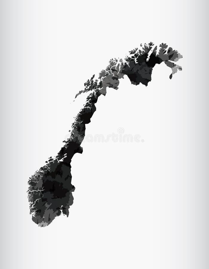 Ejemplo del vector del mapa de la acuarela de Noruega del color negro en fondo ligero usando la brocha en página del papel ilustración del vector