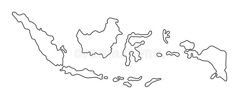 Ejemplo del vector del mapa del esquema de Indonesia ilustración del vector