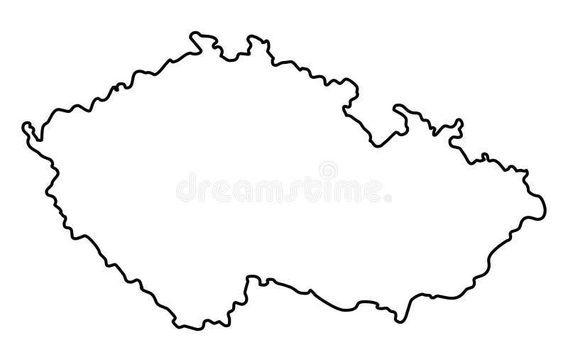 Ejemplo del vector del mapa del esquema de la República Checa stock de ilustración