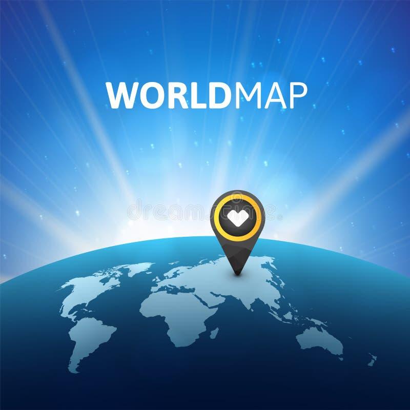 Ejemplo del vector del mapa del mundo, plantilla infographic del diseño ilustración del vector