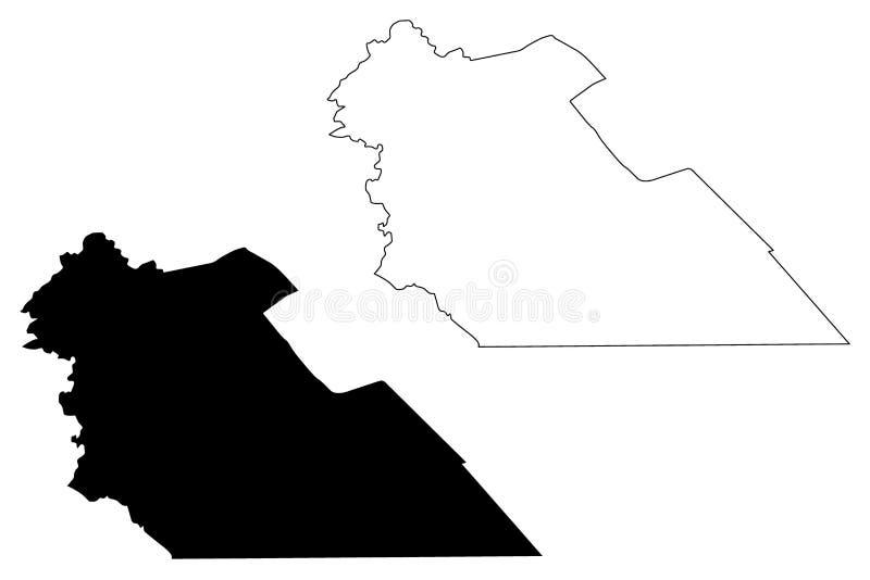 Ejemplo del vector del mapa del Reino Hachemita de Jordania del Governorate de Amman, mapa del al-Asima de Muhafazat del bosquejo ilustración del vector