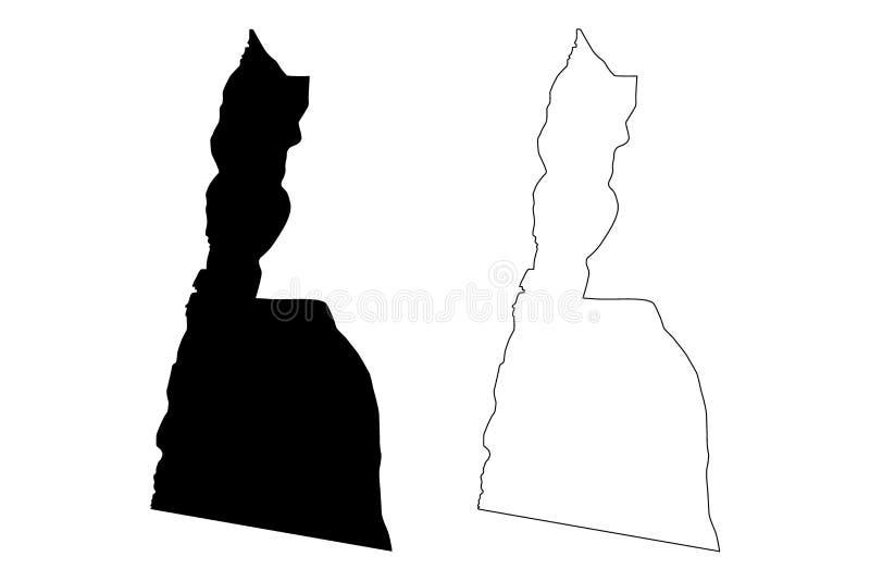 Ejemplo del vector del mapa del Reino Hachemita de Jordania del Governorate de Aqaba, mapa de Aqaba del bosquejo del garabato stock de ilustración