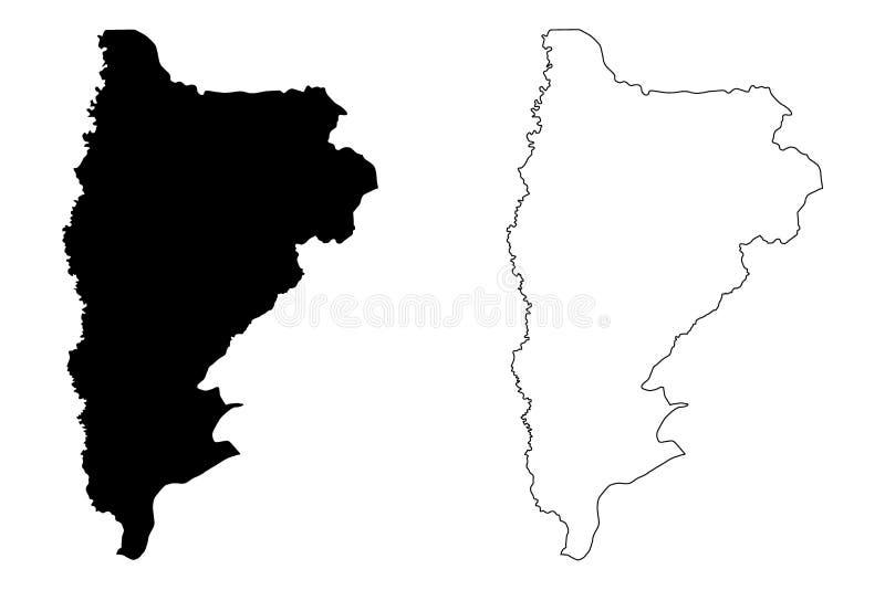 Ejemplo del vector del mapa del Reino Hachemita de Jordania del Governorate de Balqa, mapa de Balqa del bosquejo del garabato stock de ilustración